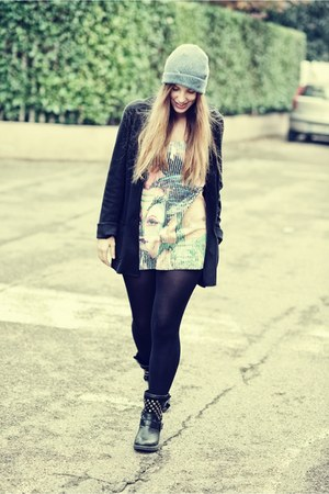 black Borsalino hat - silver desigual dress