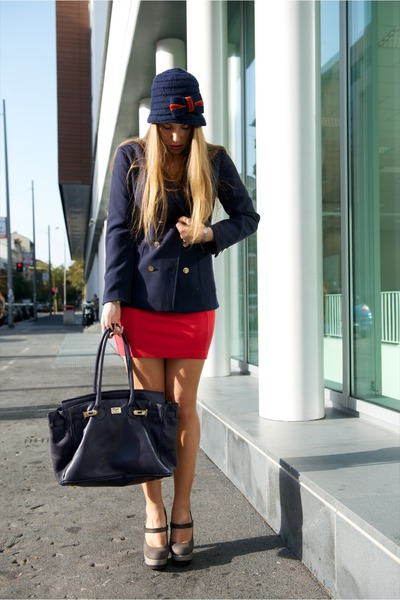 blue gazel hat - hot pink H&M dress - blue H&M jacket