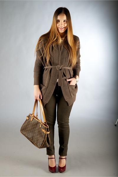 brown Zanone cardigan - dark gray Louis Vuitton bag