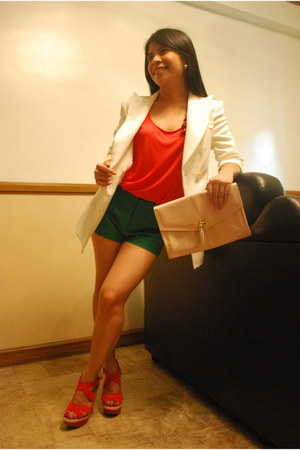 Zara blazer - H&M purse - Zara shorts - Aldo wedges - Zara top