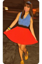 blue sleeveless Forever 21 top - red Forever 21 skirt - mustard Pill flats