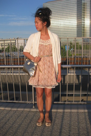 light orange floral print It Hippie dress - thrifted gold bag - eggshell Body an