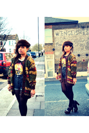 thrifted vintage jumper - Nepal tights - Bik Bok shorts - Newlook t-shirt