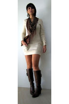 beige supre dress - Cotton On or Supre cant remember scarf - brown payless boots