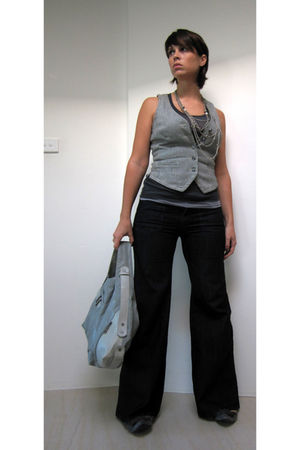 Witchery top - Jacob vest - Suzy Shier jeans - gray matt&nat purse - gray Ebay s