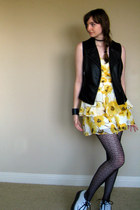 creeper TUK shoes - floral print Forever 21 dress - Forever 21 tights - leather 