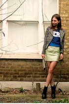 snake print H&M bag - with zip Primark blazer - H&M belt - metalic H&M skirt
