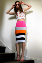 bold colors Topshop skirt - pink Primark sunglasses - vintage dior top