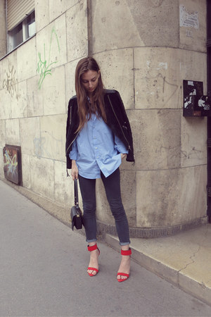 menswear vintage shirt - skinny jeans Primark jeans - leather Mango jacket