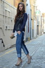 Light-blue-h-ampm-jeans-navy-knit-marks-spencer-sweater