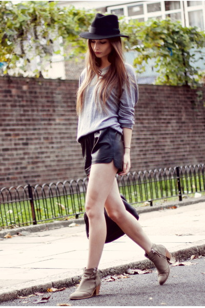 black black Old spitalfields market hat - heather gray ankle boots Topshop shoes