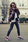 Black-mango-jacket-magenta-marks-spencer-scarf-navy-velvet-zara-bag