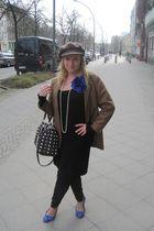 blue Street shoes - black H&M dress - brown from my grandma vintage hat