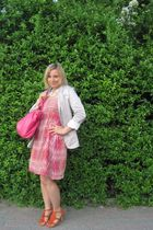 orange Deichmann shoes - pink H&M dress - white H&M blazer - blue necklace