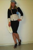 black skirt - white Oviesse blouse - black H&M sweater - blue p&c hat - white H&
