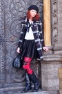 Black-h-m-dress-karen-millen-coat-black-christian-dior-purse-deichmann-boo