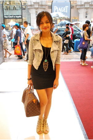 black H&amp;M dress - blue random from Hong Kong jacket - beige shoes - brown Louis 