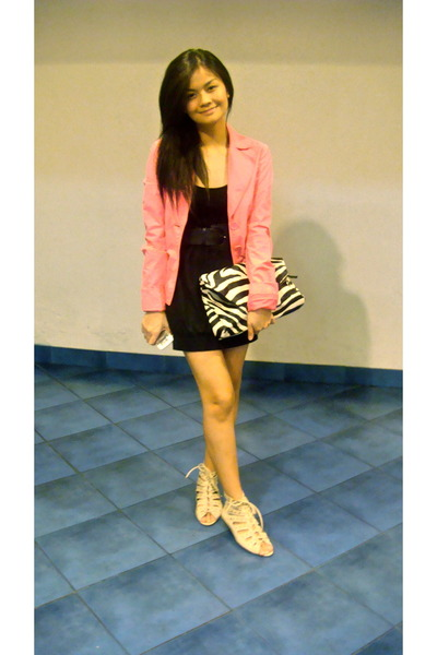 pink Esprit blazer - black SM dress - white shoes - white Tomato top