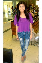 purple bench blouse - blue HK jeans - beige Zara shoes - beige Zara purse