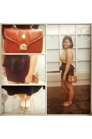 grand day bag - peplum unknown brand skirt - Bob Mackie blouse
