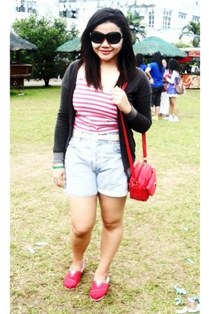 red TOMS shoes - red random brand bag - high waist calvin klein shorts - random