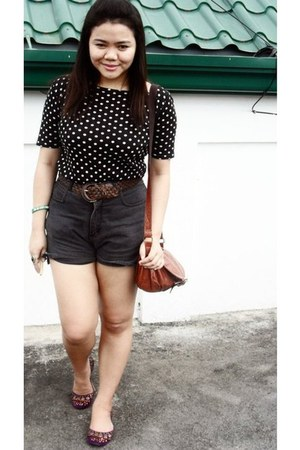 magenta janeo shoes - tawny vintage bag - high waist la blues shorts - polka dot
