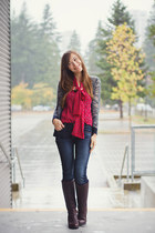 Old Navy blouse - Wanted Shoes boots - American Eagle jeans - madewell sweater