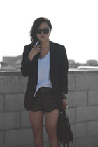 black sequins Play Me shorts - black H&M blazer - black Alexander Wang bag