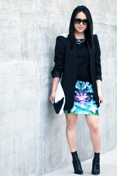 aquamarine Motel skirt - black spiked Zara blazer