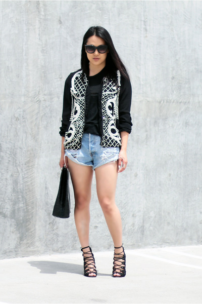 light blue MinkPink shorts - black Schutz shoes - black Zara jacket