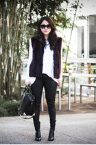 white Nasty Gal shirt - black shelly Alexander Wang boots