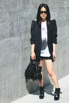 spiked Zara blazer - Zara boots - Zara shirt - kirsten Alexander Wang bag