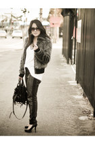 H&M pants - faux fur Zara jacket - H&M shirt - kirsten bag Alexander  Wang bag