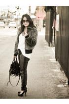 H&M pants - faux fur Zara jacket - H&M shirt - kirsten bag Alexander  Wang bag