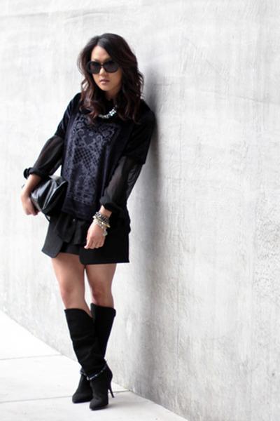 black Isabel Marant boots - navy H&M shirt - black Marie Turnor bag