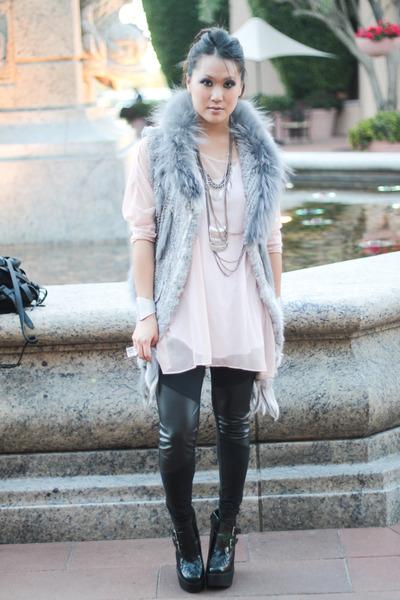 light pink sheer dress LF stores dress - black Jeffrey Campbell boots