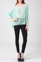 Mint Green Loose Fit Mesh Knit