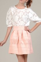 WISH WHITE CHIFFON LACE FLORAL BLOUSE