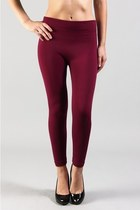 SKINNY FLEECE LINED LEGGINGS - Wine Color