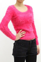 Super soft sweater in a gorgeous hot neon pink!  This unique color sweater is d