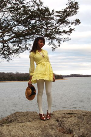 yellow vintage Jonathan Logan dress - white thrifted tights - brown Newport News