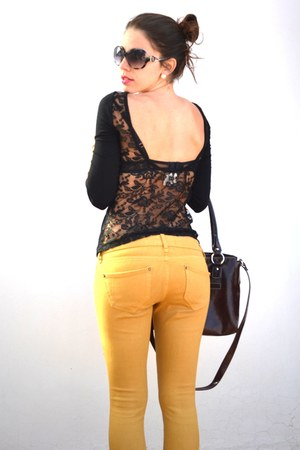 mustard Bershka pants - brown VGG bag - black Stradivarius sunglasses