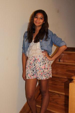 denim H&M jacket - Forever 21 shorts - lace Forever 21 top
