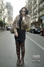 Dark-brown-zara-boots-seed-jacket-beige-esprit-bag-blue-rayban-sunglasses