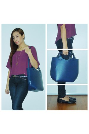 navy Zara bag - black Zara jeans - deep purple Forever 21 blouse