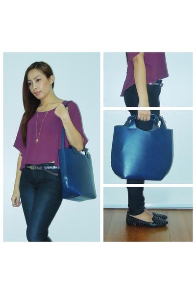 navy Zara bag - black Zara jeans - deep purple Forever 21 blouse