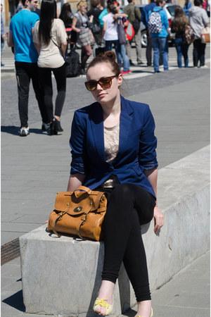 blue Only jacket - black DIY leggings - bronze New Yorker bag