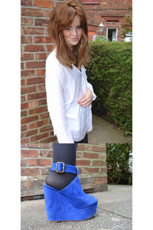 blue Topshop wedges - white Mango shirt