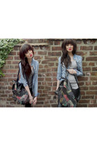 denim jacket Zara jacket - faux leather H&M leggings - rucksack vintage bag - ba
