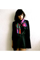 vintage scarf - Thrift Store shorts - H&M coat - Primark boots - custom made top